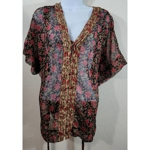 Converse Black Red Floral Sheer Button Up Top XL